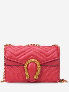 Stitching Flap Metal Crossbody Bag - Red