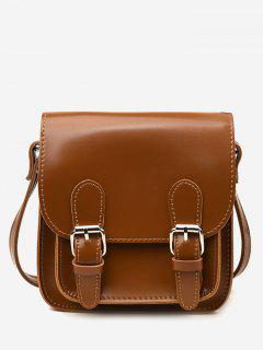 Flap Double Buckles PU Leather Crossbody Bag - Brown