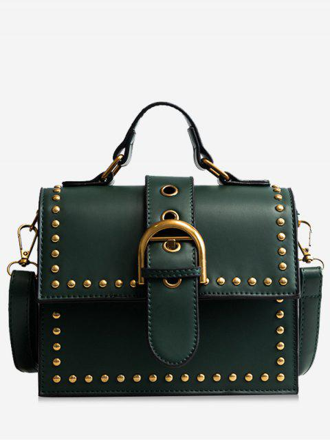 outfit Rivets Buckled Crossbody Bag - GREEN  Mobile