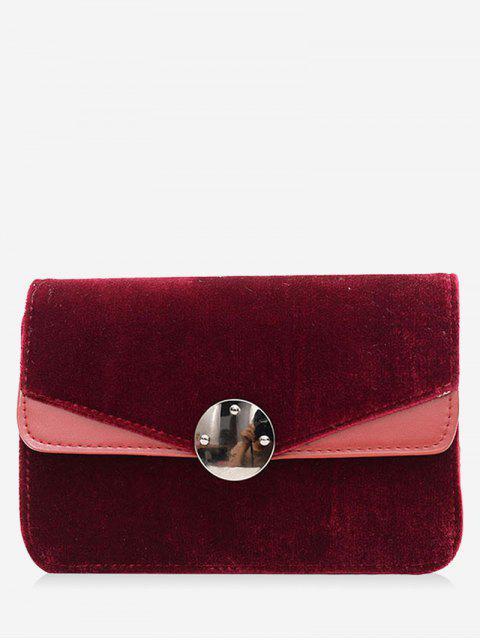 trendy All-Match Velvet Chain Shoulder Bag - BURGUNDY  Mobile