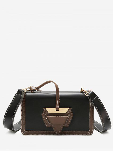 women Color Blocking Flap Crossbody Bag - BLACK  Mobile
