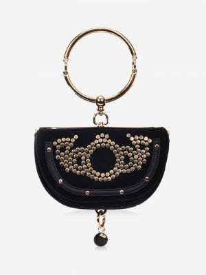Round Ring Studs Crossbody Bag - Black