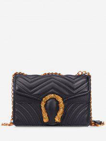 خياطة رفرف حقيبة معدنية كروسبودي - أسود