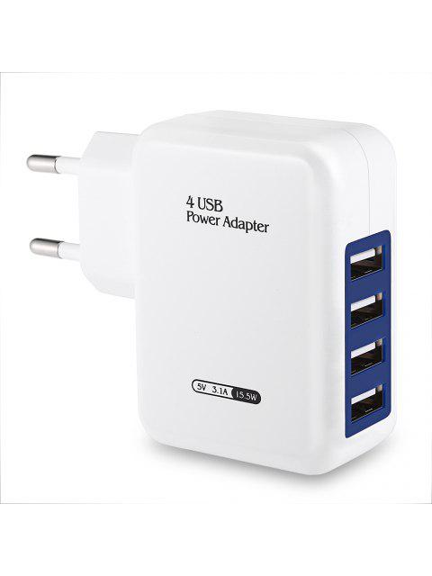 buy EU Plug Wall Charger 4 USB Ports Charging Adapter for Travel Home - WHITE EU PLUG Mobile