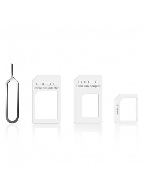 CAFELE 4 in 1 SIM Karten Adapter Mikro + Dual Nano Bausatz mit Auswerfer Pin - Weiß