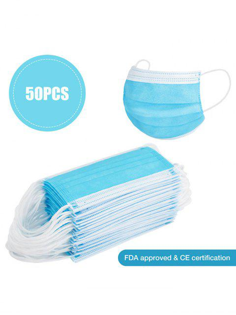 chic 50PCS Face Masks With FDA And CE Certification 3-layer Dustproof Disposable Protection - DEEP SKY BLUE  Mobile