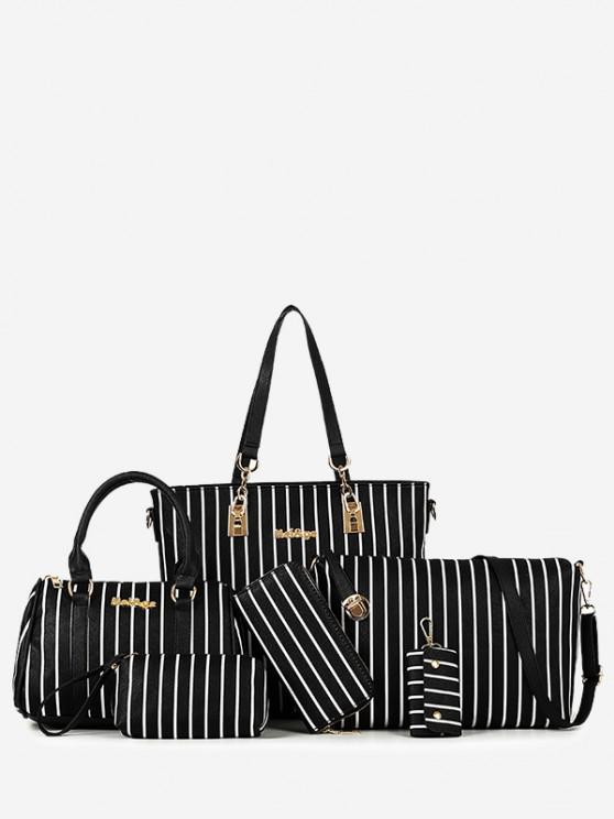 مخطط، حقائب، حقيبة الكتف حقيبة رسول، حقيبة يد، إبنة، السادس، القطع - أسود