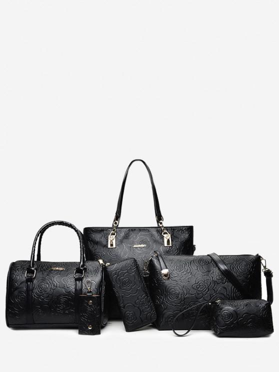 أزياء حقائب نسائية أزياء حقيبة الكتف رسول حقيبة كبيرة ستة قطع - أسود