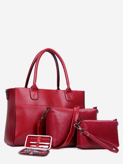 Retro Nutcracker Four Pieces Shoulder Messenger Bag Handbag - Red