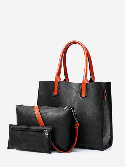 Three Pieces Fashion Handbag Simple Atmospheric Shoulder Messenger Bag - Black