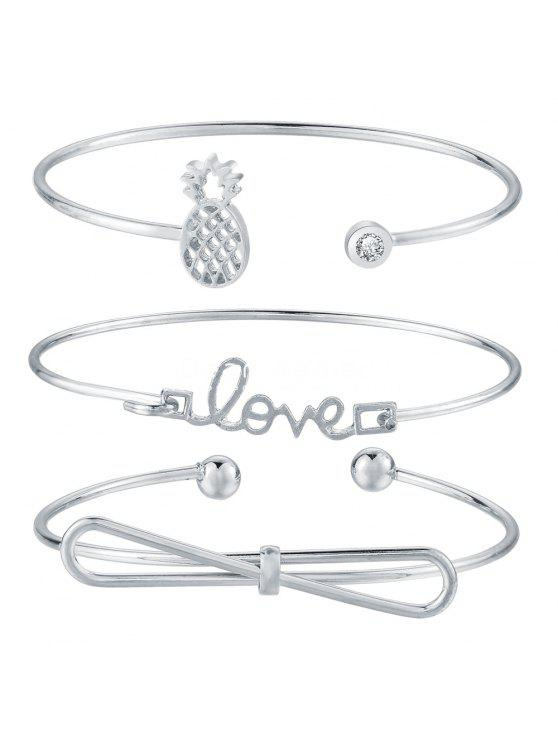 women's 4pcs Braclet Set Stainless Steel Crystal Braclet Star Moon Love Wedding Cuff Bangle Bracelet - SILVER