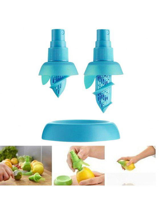 Herramientas manuales del escurridor del exprimidor del jugo de fruta del limón del pulverizador de la fruta cítrica de múltiples funciones 2PCS - Azul