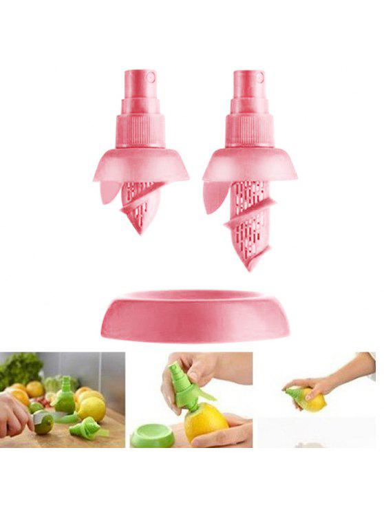 ladies 2PCS Multi-functional Citrus Sprayer Manual Lemon Fruit Juice Squeezer Reamer Tools - PINK
