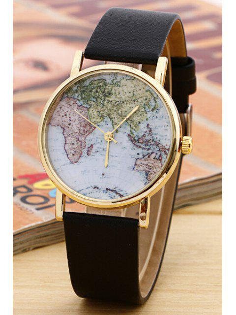 shop World Map Pattern Watch - BLACK  Mobile