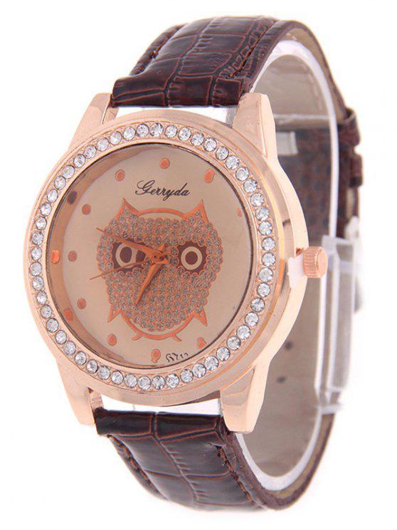 sale Rhinestoned Owl Watch - COFFEE