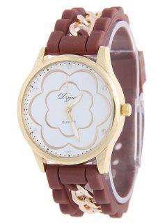 Rhinestone Blossom Watch - Coffee