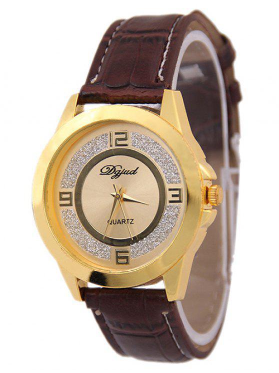 Cuero artificial polaco embotado reloj de cuarzo - Café+Dorado