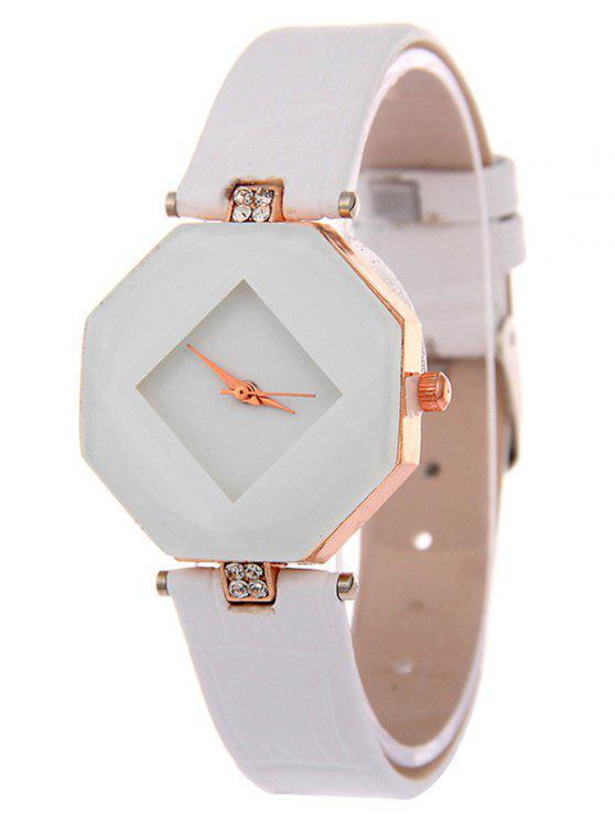 Faux cuero Rhinestone reloj geométrico - Blanco