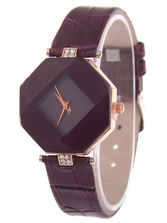 affordable Faux Leather Rhinestone Geometric Watch - PURPLE