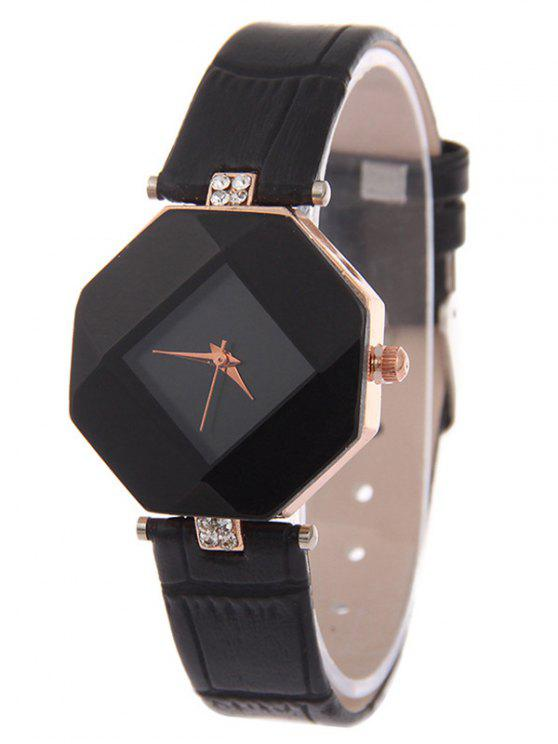womens Faux Leather Rhinestone Geometric Watch - BLACK