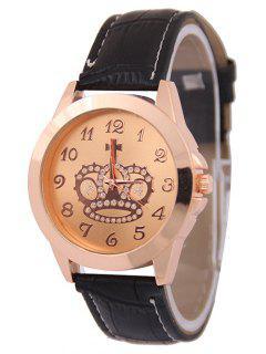 Rhinestone Crown Cross Pattern Watch - Rose Gold
