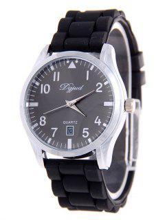 Silica Gel Calendar Watch - Black