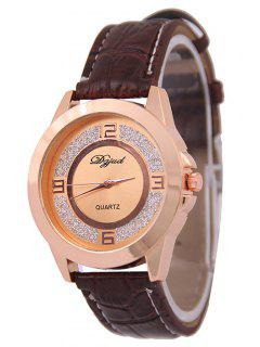 Artificial Leather Dull Polish Quartz Watch - Rose Gold