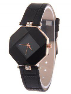 Faux Leather Rhinestone Geometric Watch - Black