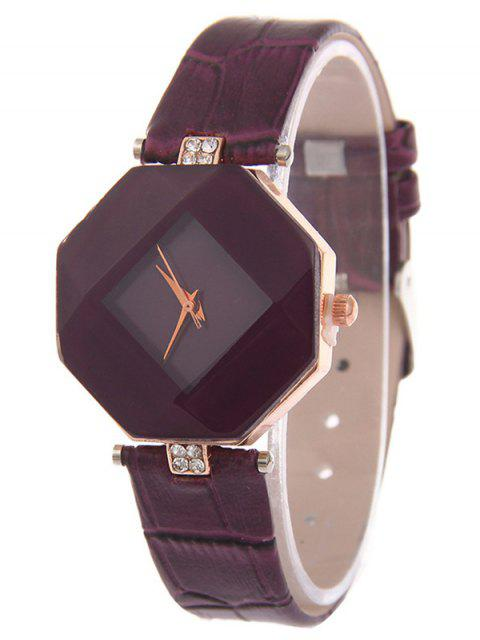 affordable Faux Leather Rhinestone Geometric Watch - PURPLE  Mobile