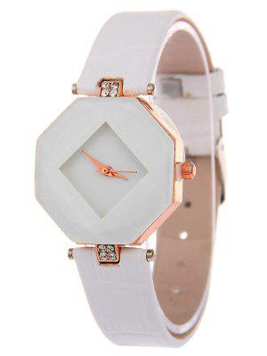 Faux Leather Rhinestone Geometric Watch - White