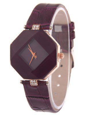Faux Cuero Rhinestone Reloj Geométrico - Púrpura