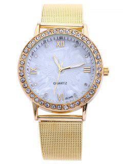 Alloy Rhinestone Adorn Roman Numerals Watch - Golden