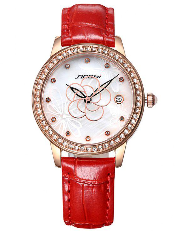 womens Faux Leather Rhinestone Flower Pattern Watch - RED