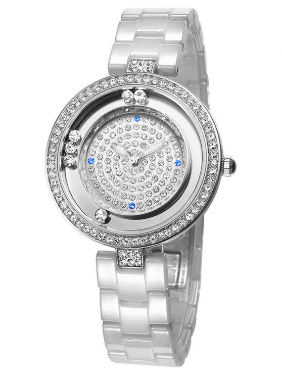 lady Faux Sapphire Rhinestoned Round Pattern Watch - SILVER