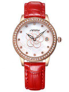 Imitación De Cuero De La Flor Del Reloj Del Rhinestone Del Patrón - Rojo