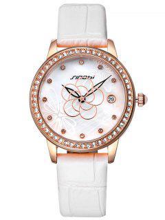 Faux Leather Rhinestone Flower Pattern Watch - White