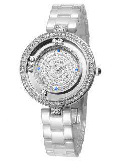 Faux Sapphire Rhinestoned Round Pattern Watch - Silver