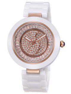 Faux Crystal Rhinestone Round Quarz Watch - Rose Gold