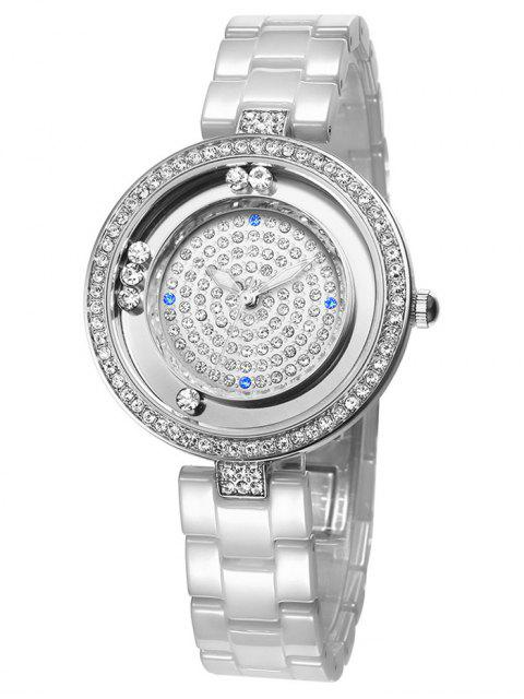 lady Faux Sapphire Rhinestoned Round Pattern Watch - SILVER  Mobile