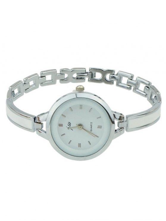 outfit Alloy Round Dial Plate Chain Watch - SILVER