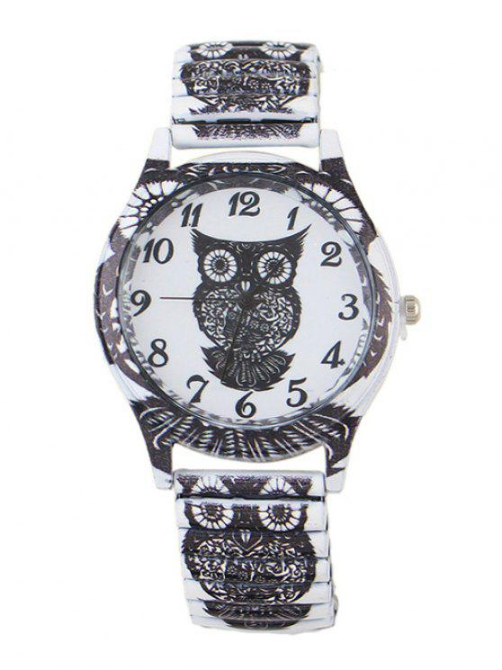 chic Owl Pattern Alloy Embellished Watch - BLACK