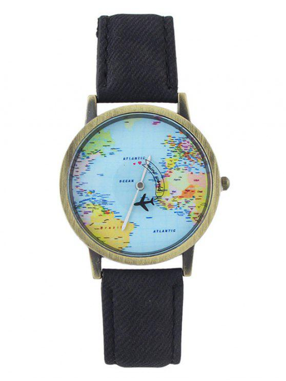 women Faux Leather World Map Airplane Watch - BLACK