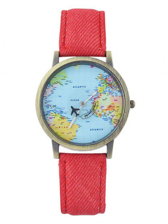 women's Faux Leather World Map Airplane Watch - RED