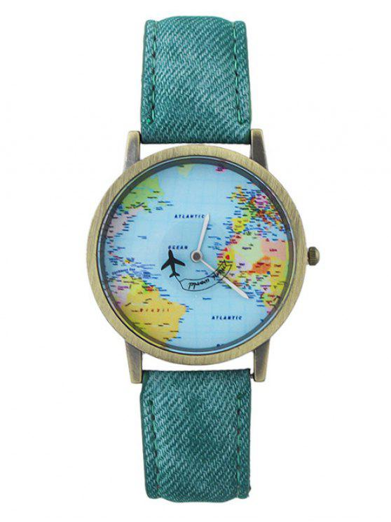 ladies Faux Leather World Map Airplane Watch - GREEN