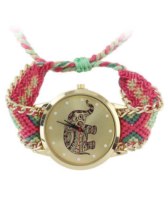 Patrón geométrico elefante tejido de cuerda del reloj - Rosa Profundo