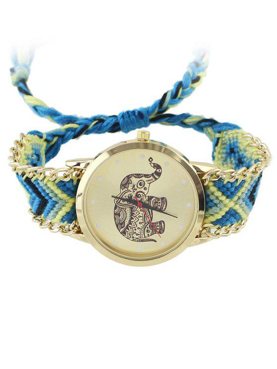 affordable Elephant Pattern Geometric Woven Rope Watch - BLUE