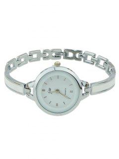 Alloy Round Dial Plate Chain Watch - Silver