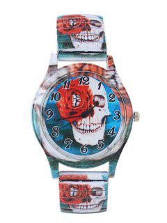 Smile Skull Pattern Alloy Embellished Watch - Blue