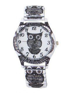 Owl Pattern Alloy Embellished Watch - Black