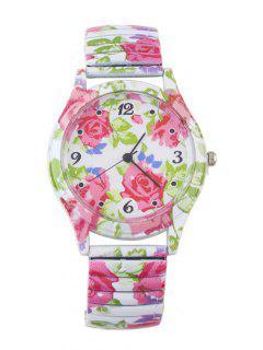 Alloy Leaf Blossom Pattern Embellished Watch - Hot Pink